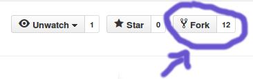 Onde clicar para fazer a fork no GitHub